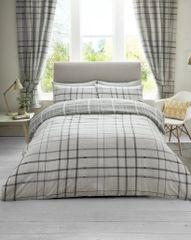 Hartley Check grey cotton blend duvet cover