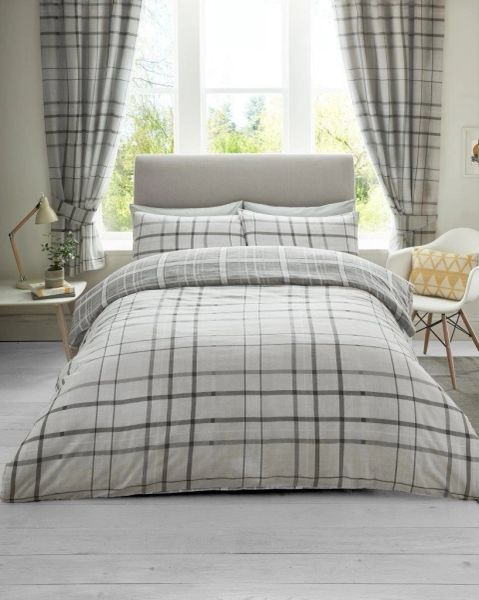 Hartley Check grey duvet cover
