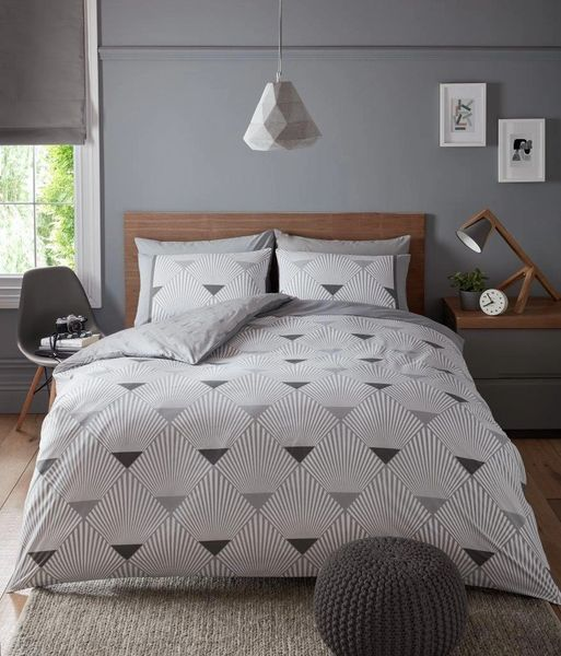 Metro grey duvet cover