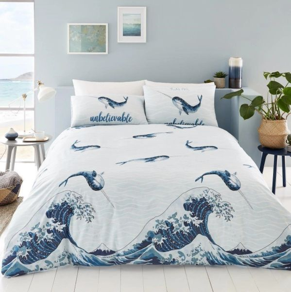 Narwhal blue duvet cover