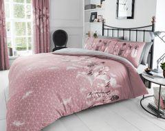 Feathers pink cotton blend duvet cover