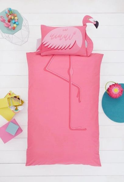 Flamingo shaped duvet cover
