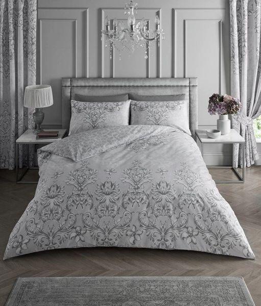 Antoinette grey cotton blend duvet cover