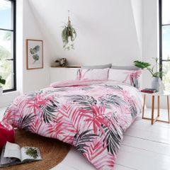 Leopard Leaves pink cotton blend duvet cover