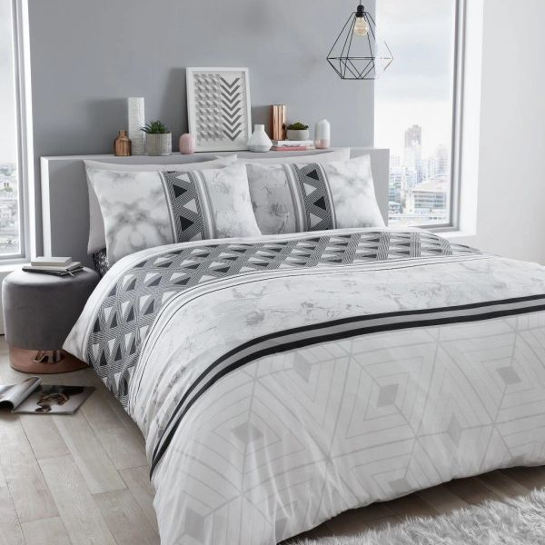 Marble Stripe grey duvet cover