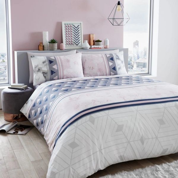 Marble Stripe pink duvet cover
