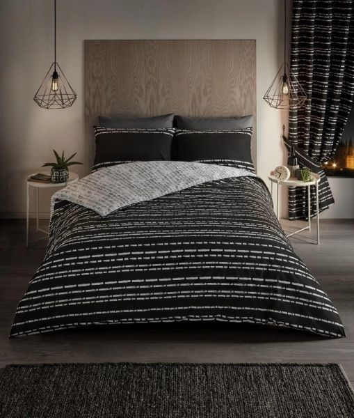 Seb Stripe black duvet cover