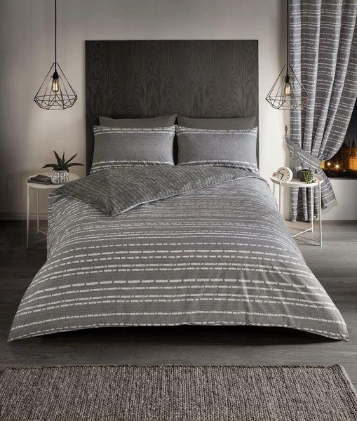 Seb Stripe grey duvet cover