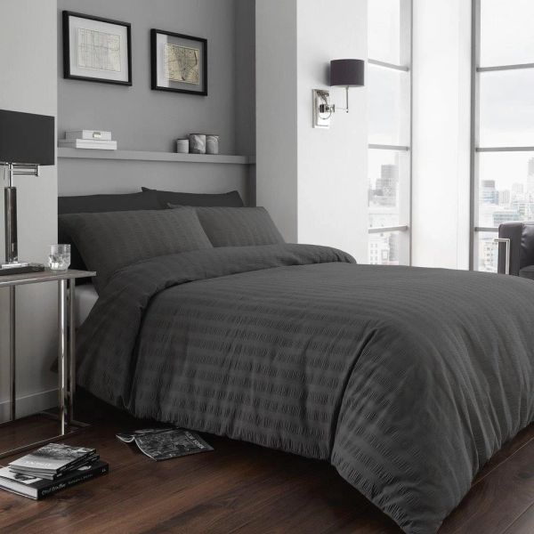Seersucker charcoal duvet cover