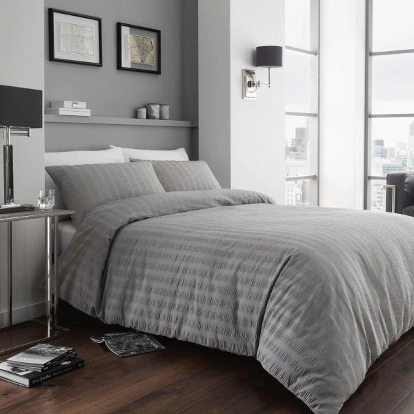 Seersucker grey duvet cover
