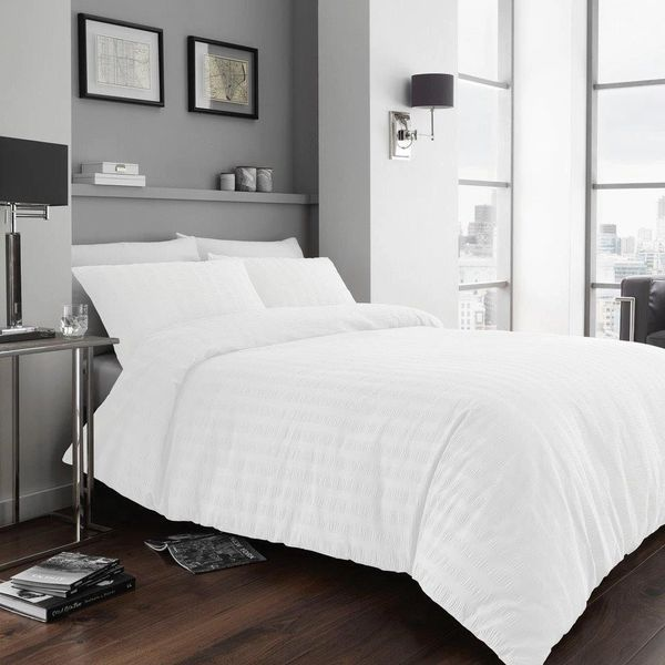 Seersucker white duvet cover