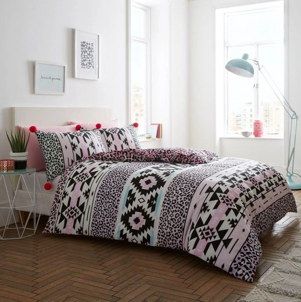 Animal Aztec Pom Pom pink duvet cover