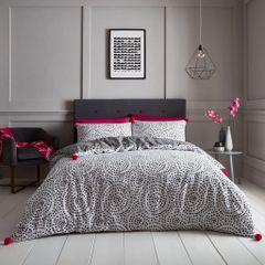 Huxley Pom Pom grey cotton blend duvet cover