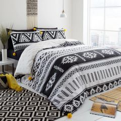 Shiloh Pom Pom black & white cotton blend duvet cover