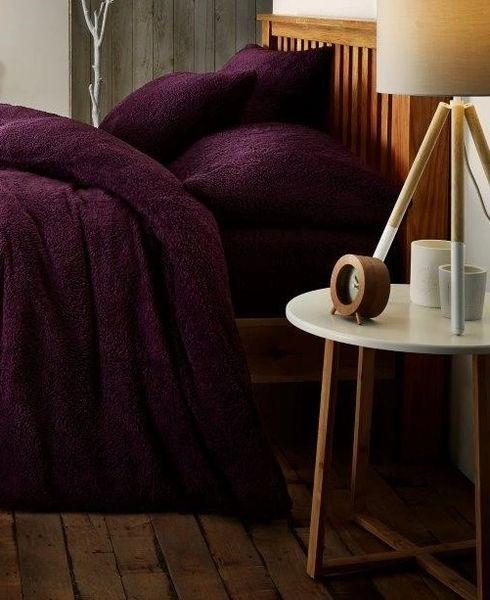Teddy fleece purple duvet cover