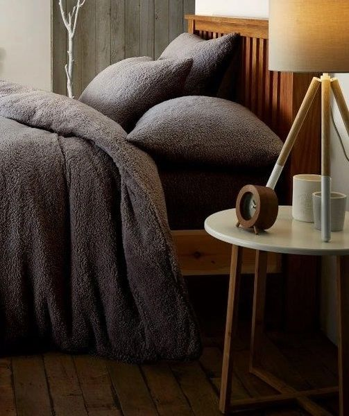 Teddy fleece charcoal duvet cover