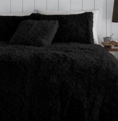Faux fur black duvet cover