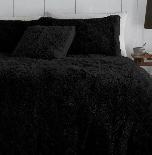 Faux fur black duvet cover