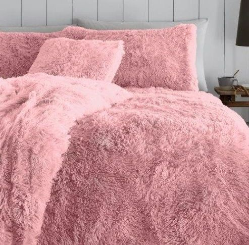 Faux fur pink duvet cover