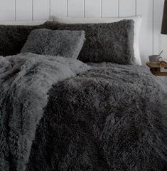 Faux fur charcoal duvet cover