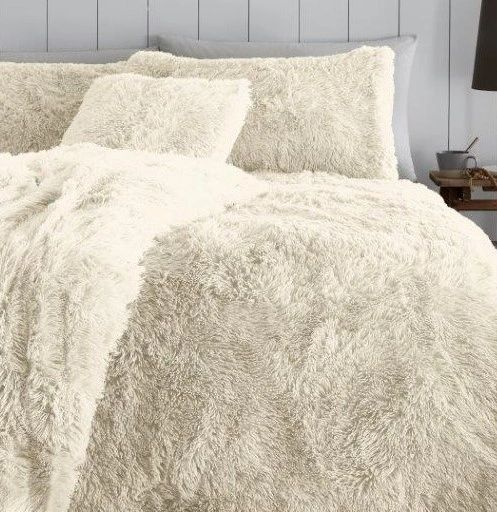 Faux fur cream duvet cover