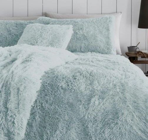 Faux fur duck egg duvet cover