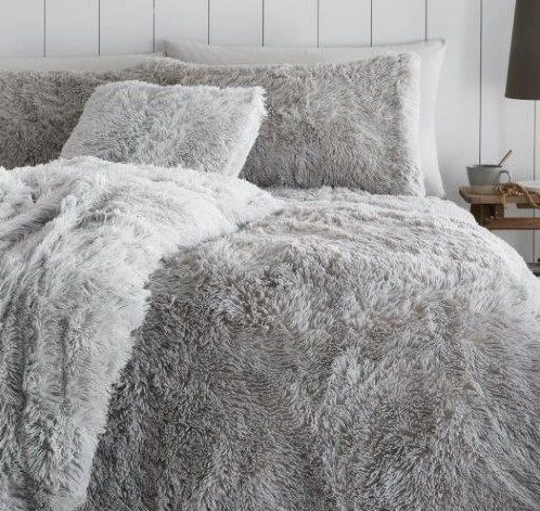 Faux fur grey duvet cover