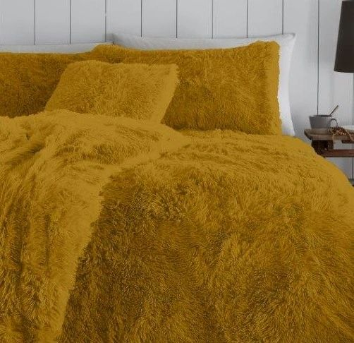 Faux fur ochre duvet cover