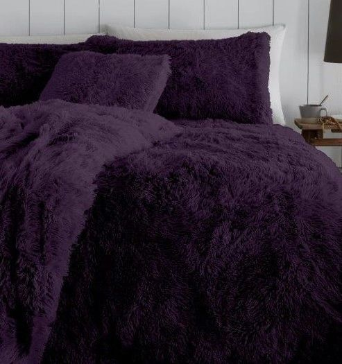 Faux fur purple duvet cover