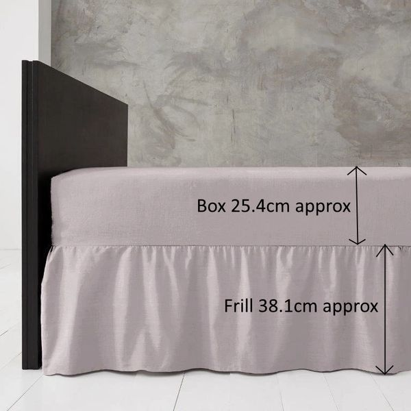 Grey frilled valance sheet