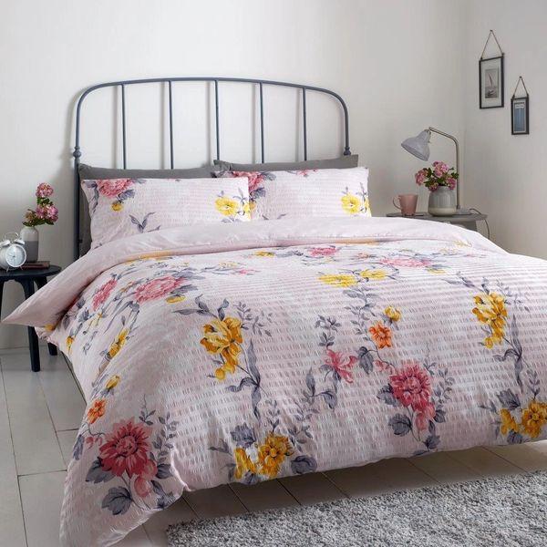 Elenor Seersucker pink & yellow duvet cover