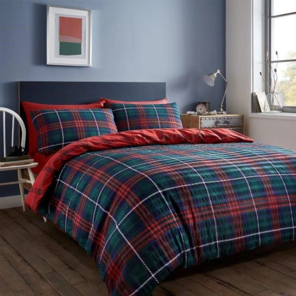 Tartan Seersucker navy & red duvet cover