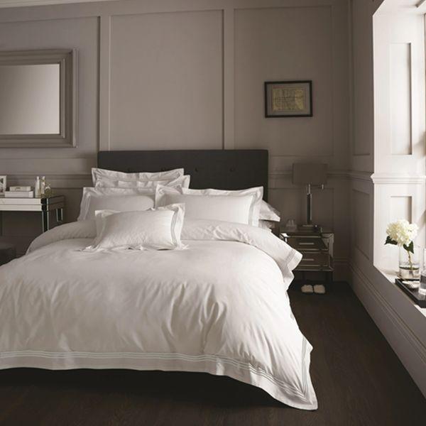 Devore Hotel Collection white & grey stripe duvet cover