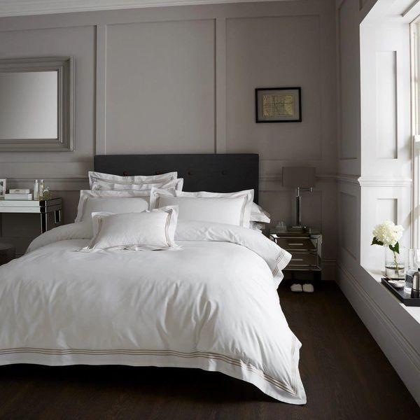 Devore Hotel Collection white & latte stripe duvet cover