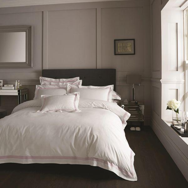 Devore Hotel Collection white & pink stripe duvet cover