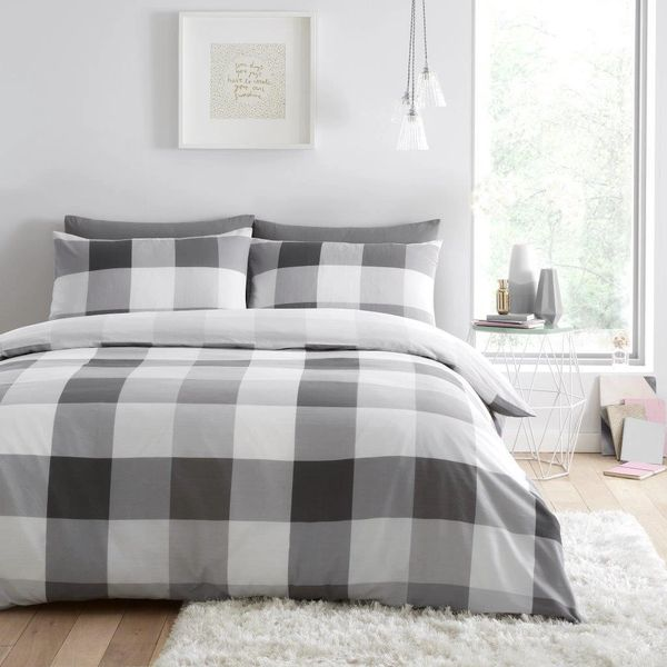 Cosmic Check grey duvet cover