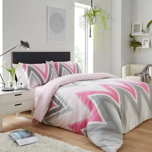 Chevron grey & pink duvet cover