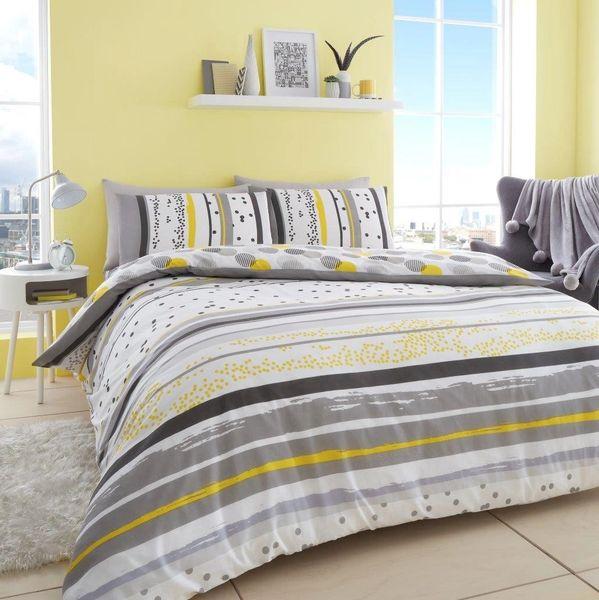 Earle grey & yellow polka dot stripe duvet cover