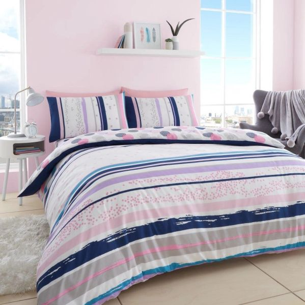 Earle pink & blue polka dot stripe duvet cover
