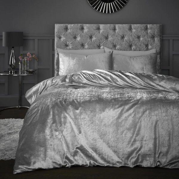 Sparkle Crushed Velvet silver duvet cover