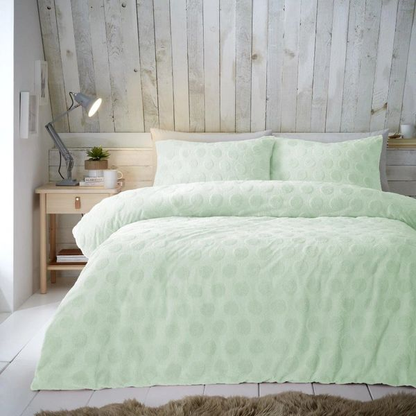 Spot patterned teddy fleece green duvet cover