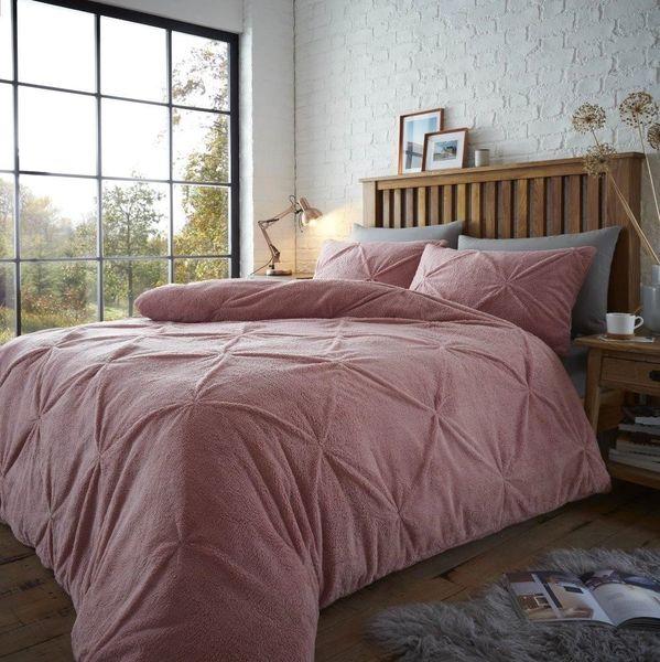 Pintuck teddy fleece blush pink duvet cover