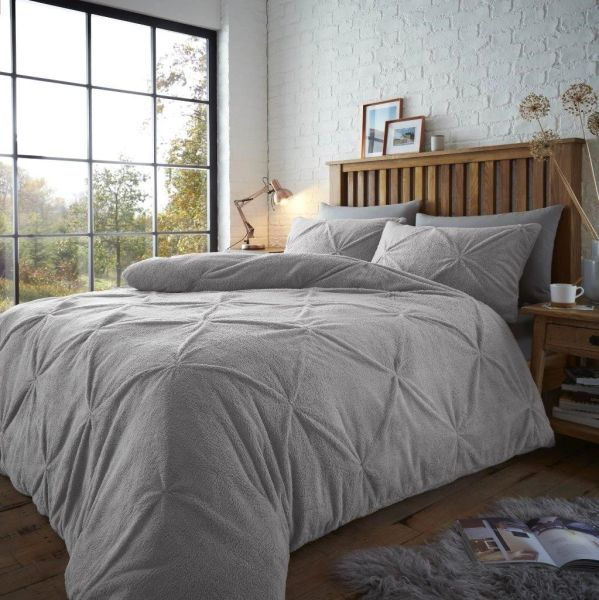 Pintuck teddy fleece grey duvet cover