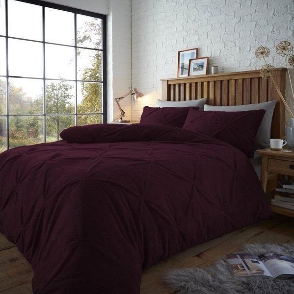 Pintuck teddy fleece purple duvet cover