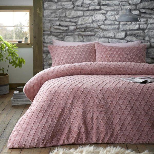 Geometric teddy fleece blush pink duvet cover