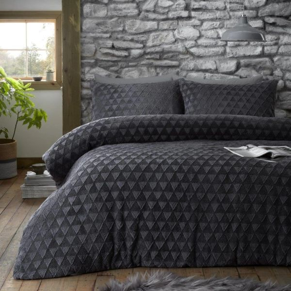 Geometric teddy fleece charcoal duvet cover