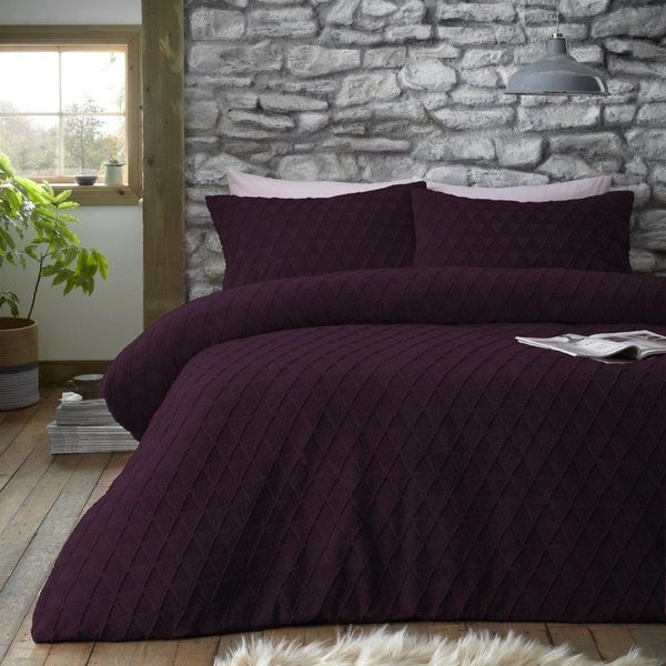 Geometric teddy fleece purple duvet cover