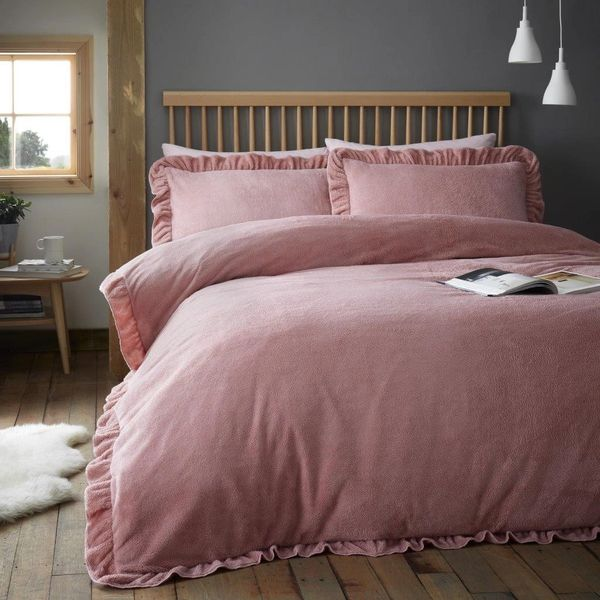 Ruffle teddy fleece pink duvet cover