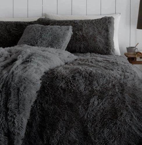 Double Faux fur charcoal duvet cover
