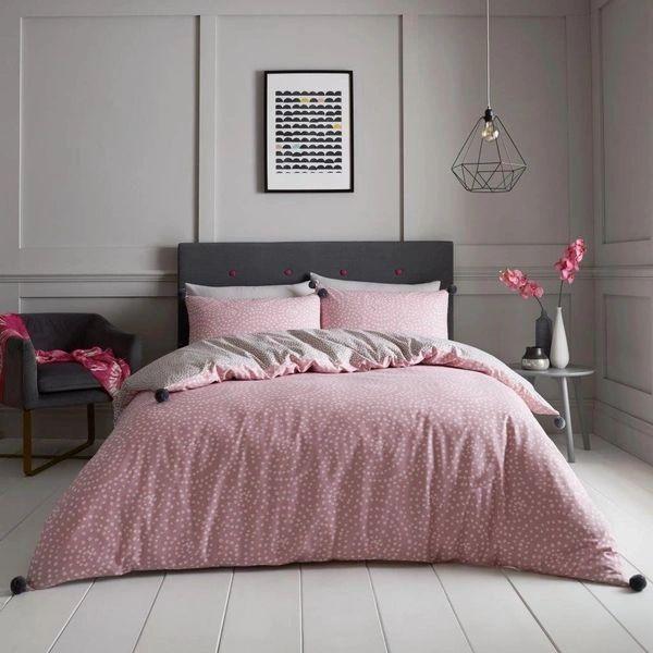 Single Huxley Pom Pom blush pink duvet cover